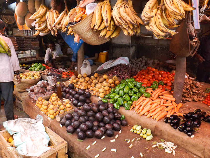 Overal groente en fruit op de markt