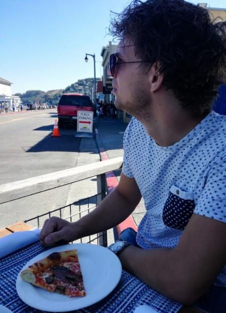 Pizza eten in Sausalito