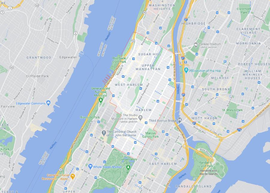 De wijk Harlem op de kaart van New York